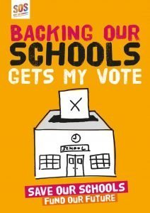 Poster- backing our schools gets my vote - Save our schools - fund our future